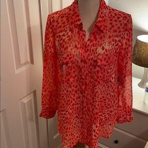 NWT sheer cheetah print blouse
